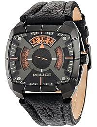 G Force–Policía Hombre Reloj de cuarzo con Negro esfera analógica pantalla y correa de cuero negro 14796jsu/02