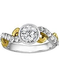 Silvernshine 1.17 Carat White Clear CZ Diamond 10k Two-Tone Plated Women's Wedding Ring