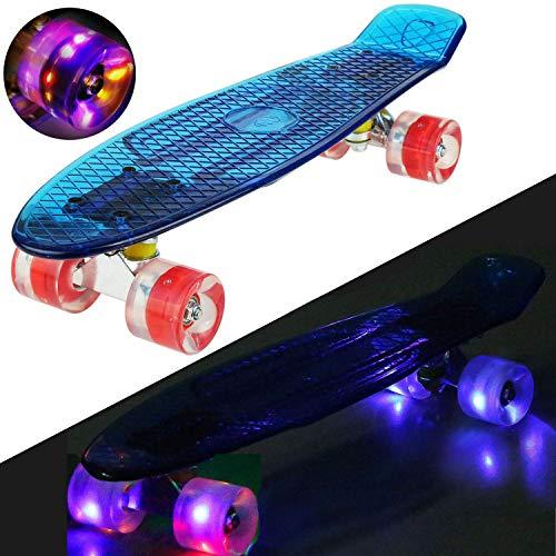 Hiriyt Mini Cruiser Skateboard 22 Zoll Fishboard FÜR Anfänger Jugendliche Und Erwachsene - Tragbares Mini-Skateboard - 4 Ledteile Erleuchten Das Glatte PU Rad (Blau / rotes Rad / Riemen)
