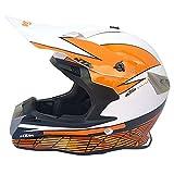 Casco para Motocicleta Adulto Casco para Motocicleta MX Casco Scooter ATV Casco D.O.T Certificado con Gafas Protectoras Máscara A Prueba De Viento KTM Blanco (S, M, L, XL, XXL),S55~56CM
