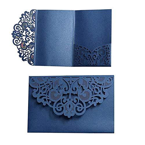 Tarjetas de invitación de boda, 10 unidades, diseño de flores cortadas con láser, bolsillo para invitaciones de novia, fiestas de compromiso, incluye fundas, insertos en blanco azul oscuro