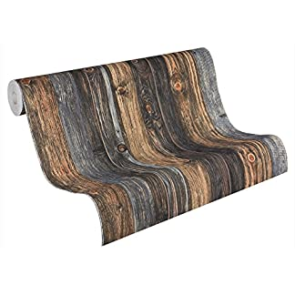 A.S. Création papel pintado Wood'n Stone beige marrón gris 10,05 m x 0,53 m 908612