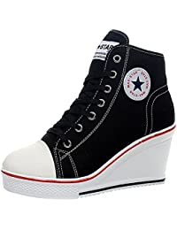 Wealsex Mujer Cuñas Zapatos De Lona High-top Zapatos Casuales Encaje Talla Grande 35-43