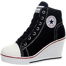 wealsex Sneaker Donna Zeppa Alte Donna Scarpe Lato Zip 8 cm Allacciate  Donna Tela Scarpe da f8ef9d45978