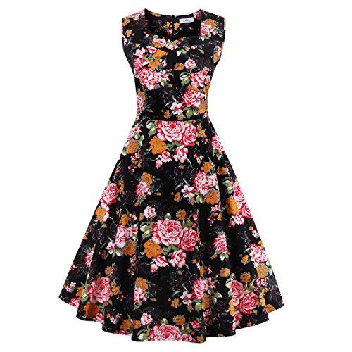 Babyonline Damen Kleid Kurz Sommer Petticoat Faltenrock Ärmellos Mit Blumen 50er Jahre Vintage Swing Rockabilly Cocktailkleid Knielang Schwarz M (Kleid Mädchen Blumen öse)