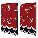 Head Case Designs Anker Und Wellen Marine Muster Brieftasche Handyhülle aus Leder für iPad Air (2013)