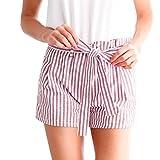Shorts Damen Sommer Btruely Mitte Waist Shorts Frau Streifen Strandshorts Sommer Mini Hot Hosen Lose Shorts (XL, Rosa)
