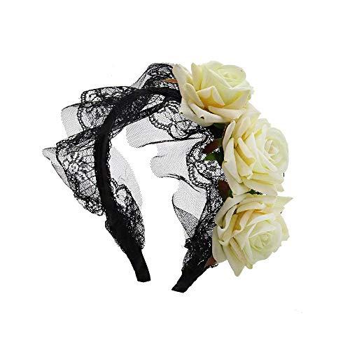 Floskam Damen Kopfbedeckung, Blumen-Design, Gotholita, Spitze, Schwarz weiß