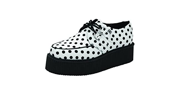 T.U.K A8582 TUK Shoes Mondo Hi suola Bianco Nero a Pois bordello CREEPERS