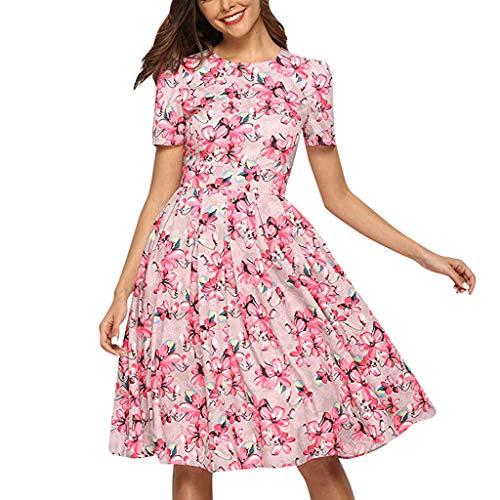 ABsoar Damen Blumendruck Minikleid Sommer Kurzarm Kleider Abenkleid Rundhals Swing Kleid Frauen A Linie Kleid Strandkleid Elegent Partykleid Jerseykleider