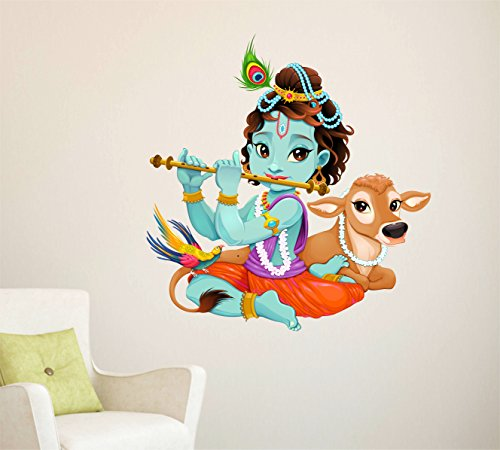 Decal Design ' Lord Krishna with Flute Cute Kids Room God Wall Sticker' (PVC Vinyl, 50x70cm, Multicolor)  available at amazon for Rs.199