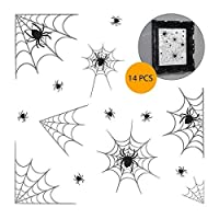 14 Piece Spider Web Vinyl Window and Mirror Stickers Clings Halloween Party Decorations
