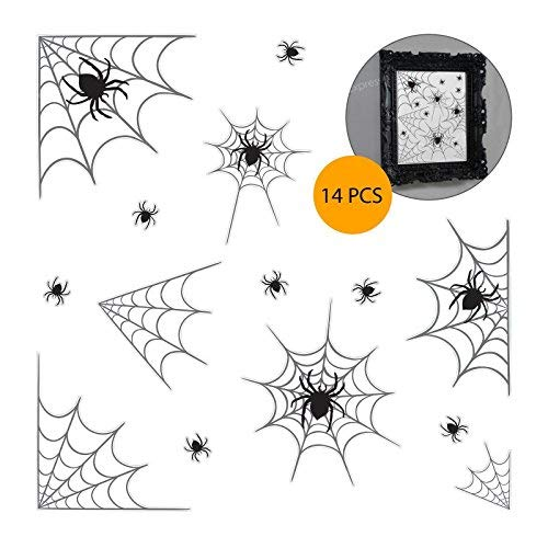 14 teilig, Spinnennetz-Design, PVC-Fenster und Spiegel-Sticker Halloween Party Deko Dekoration