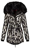 Navahoo 2in1 Damen Winter Jacke Parka Mantel Winterjacke warm Fell B365 (S, Camouflage Grau)