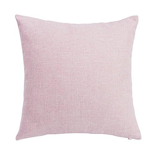 SUNOOMY Décor Weich Baumwollleinen, Quadratisch Solides Leinen Kissen für Sofa Couch Bett Stuhl 18''X18'' Rosa - Soft Pink -