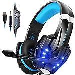 Auriculares Gaming con micrófono, virtual 7.1 de sonido envolvente, cascos cerrados con LED luz azul, ideal para PS4, PC, Xbox one
