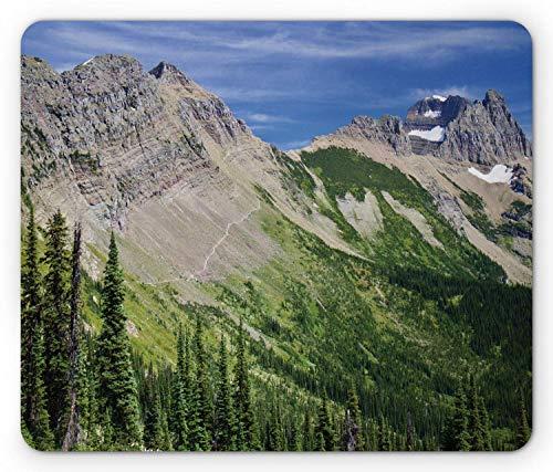 Landschafts-Mausunterlage, Ansicht des Hochgebirges mit den Wäldern, die schneebedeckte Steigungs-Kiefer wandern, Standardgrößen-Rechteck-rutschfestes Gummi-Mousepad, Olivgrün und Mehrfarben,Gummimatt -