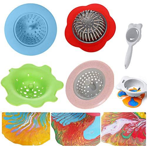 Acryl Gießen Sie Siebe 5Pcs Flow Painting Tools Kits Zeichnung Sets Sink Flower Sieb Drain Kunststoff Silikon Abflusskorb zum Gießen von Acrylfarbe und Erstellen von einzigartigen Mustern und Designs - Silikon-drain-kits