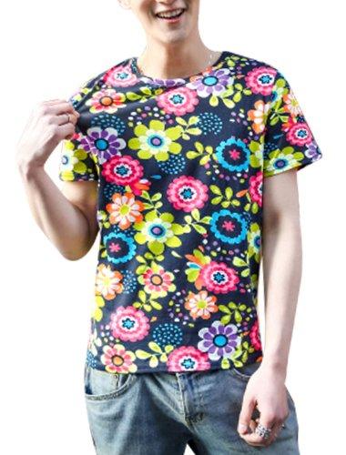 Hommes Chic Motif Fleur Col Rond Souple Chemise Multicolore