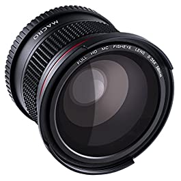 58MM 0,35X Obiettivo di Fisheye Beschoi Super Alta Definizione HD Panoramica Grandangolo Macro Fisheye Blue Film Teleobiettivo Fisheye Lens con Panno di Pulizia per Canon Nikon Pentax Sony Sigma DSLR