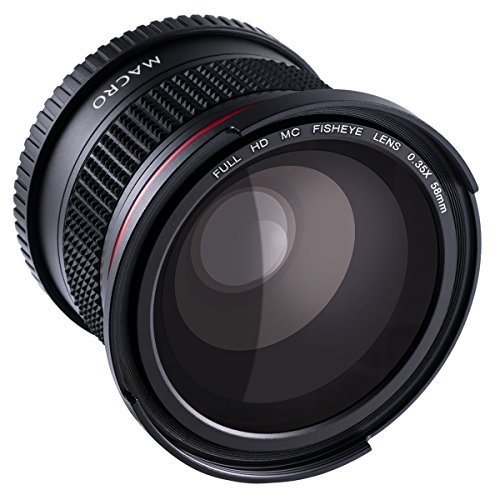 Beschoi Objectif Fisheye 58mm 0.35x Lentille Grand Angle avec Bouchon d'Objectif pour Canon EOS Nikon Sony Pentax Sigma et d'Autres Appareils Photo Reflex