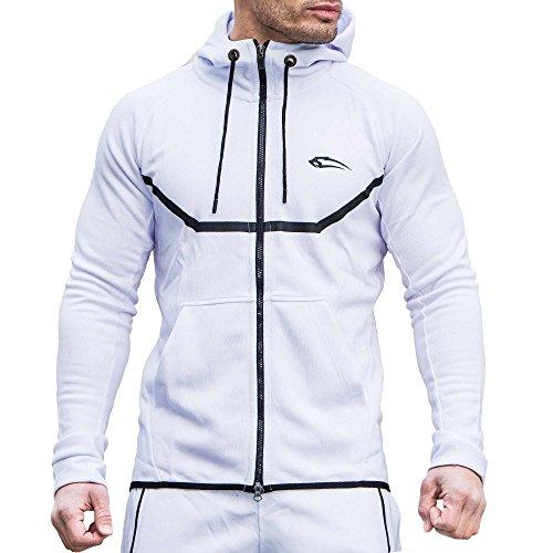 SMILODOX Sportjacke Herren | Zip Hoodie für Sport Fitness Gym & Training | TechPro Funktionsshirt - Sweatshirt - Kapuzenpullover - Laufshirt - Sweatjacke Lang, Farbe:Weiß, Größe:M