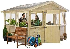 serre en bois 19 mm greenhouse l 303 x 303 cm - 8.76 m² (Sans traitement)