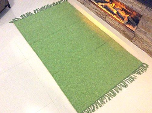 (Umweltfreundlich Uni Lime Grün Handgefertigt Natürliche Baumwolle Fair Trade wendbar & Maschinenwaschbar Flachgewebe Dhurrie Teppiche Matte & Hall Tischläufer mit Fransen, 100 % Baumwolle, lindgrün, Large 120x180cm - (4'x6'))