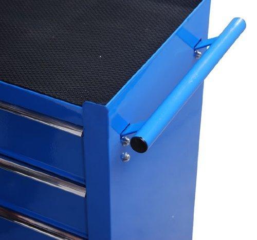 Homcom® Fahrbarer Werkstattwagen Werkzeugwagen Rollwagen Werkzeugkasten mit 5 Schubladen blau - 6