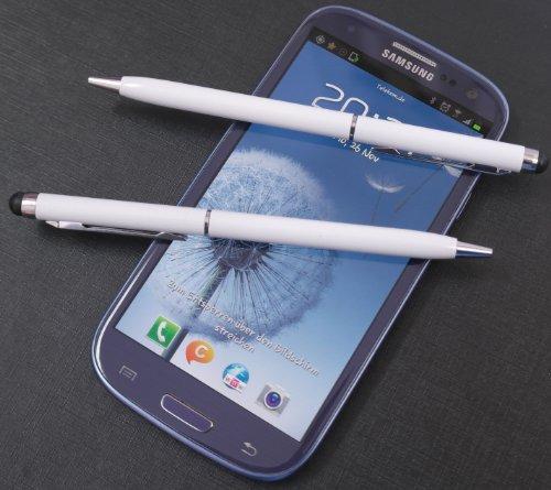 2x WHITE tomaxx Stylus Pen - Eingabestift + Kugelschreiber für Samsung Galaxy S5 Mini (SM-G800), iPhone 6, IPHONE 5, Samsung Galaxy Grand i9080, i9802 Duos, HTC M7, HTC One SV, Sony Xperia E + E Dual, Nokia Lumia 620, Samsung Galaxy S3 i9300 S 3 - I8160 Galaxy Ace 2 - S5222 Star 3 Duos - S5220 Star 3, S6500, Samsung Galaxy Music S6010 - Galaxy Music DUOS S6012, Galaxy S3 Mini i8190, Galaxy S3 LTE i9305, Samsung Galaxy Music S6010 - Galaxy Music DUOS S6012, Samsung Galaxy S3 Mini i8190, Samsung Galaxy Music S6010, Galaxy Music DUOS S6012, Galaxy S3 Mini i8190 u.a alle Samsung Handy mit Touchscreen Display…