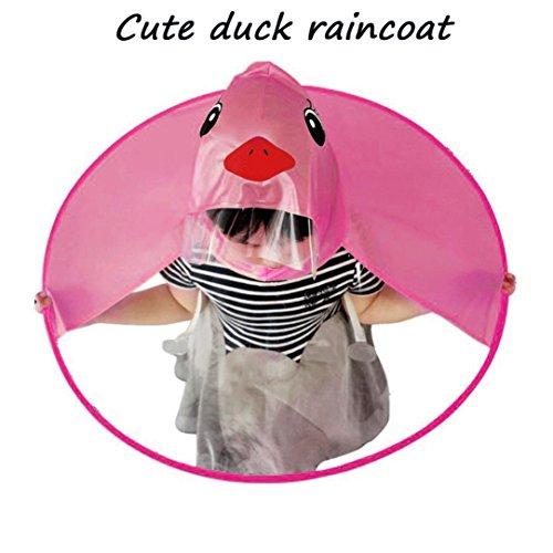 Hansee Regenmantel Kinder, Netter Regen-Mantel UFO-Kind-Regenschirm-Hut-Magische Hände Geben Regenmantel Frei (Pink, S)