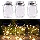 3packs Solar Mason Jar Licht - Maurer Glas LED Bunte Fee Jar Deckel Lichtbetriebene Gartentisch Außen hängend Laterne Lichter - dekorative,Sammeln, Weihnachten,Party,Hochzeit(3pcs Warm White)