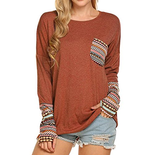 Damen Pullover,Honestyi Neue Frauen Patchwork Casual lose t-Shirts Bluse Tops mit Daumen Löcher (S, Orange) (Deutsche Hoodie Damen)