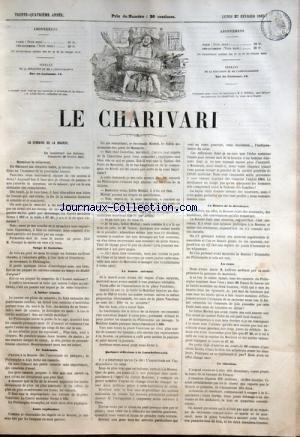CHARIVARI (LE) du 27/02/1865 - LA SEMAINE DE LA BOURSE / SONGE DE CASTORINE - LE LENDEMAIN - AUTRE EXPLICATION - QUELQUES REFLEXIONS A LA LAROCHEFOUCAULD - M. LEFEVRE - LA BOURSE DE LA DECADENCE - LA SITUATION -A. BREMOND