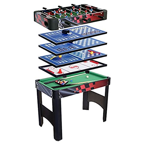 HLC-Table Multi-Jeux 6 EN 1 Billiard/Baby-foot/Air Hockey/Table Tennis/Jeu d'échecs/Backgammon