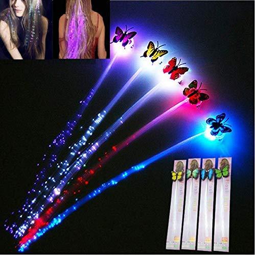 Flash-LED Hair Set ofhair extentions Clip Schmetterling Frauen Mädchen Braid Clip Haarspange Decor Mehrfarbiges LED blinkende Schmetterling Faser Tricks LED Haarspange/Braid Frisur für Party Dance (4)
