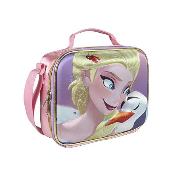 Disney-2100002133 Frozen Portamerienda, Color Rosa, 23 cm (ARTESANIA CERDA CD-21-2133)