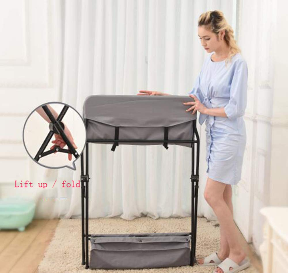 Baby Changing Table Baby Storage Bath Tub Unit Station Dresser Foldable Cross Leg Style AA-SS-Baby Changing Table 【Two in One Design】This baby changing table can be used as baby massaging table as 【Stable Construction】Non-skid feet covers and a sturdy frame keep the table stable and prevent movement. 【Waterproof Material】The surface of the top table is made of durable and wearable Oxford cloth and it can be used for a long period. 4