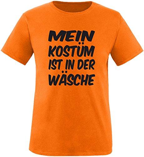 Luckja Mein Kostüm ist in der Wäsche Herren Rundhals T-Shirt Orange/Schwarz