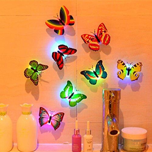 Bunte leuchtende 3D Schmetterling Nachtlicht Wandaufkleber Upxiang LED-Leuchten Wand Haus Dekoration (Random)