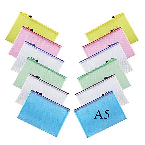 HO2NLE 12pcs Dokumententasche A5 Reißverschlusstasche Zip Beutel Wasserdicht Farbig Plastic Zipper Tasche für Büro Kosmetik Supplies Reisezubeh