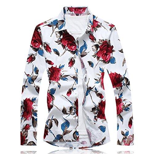 Honghu Herren Casual Slim Fit Stretch Langarm Hemden Button-down Drucken  Printing Freizeithemd Weiß+