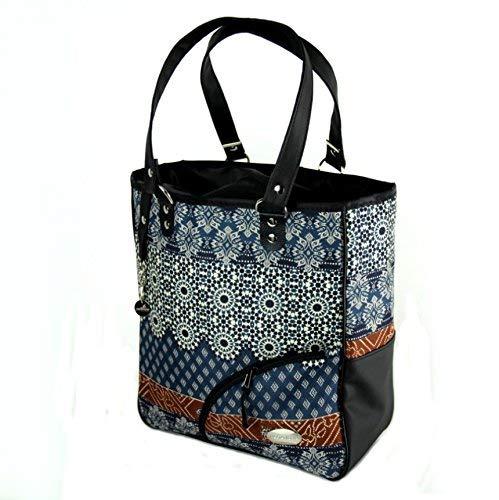Haberland Reikya Einkaufstasche, blau/Braun, 32x37x13 cm