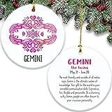 Zwillinge Sternzeichen doppelseitig Ornament Keramik Die Zwillinge Symbol Beschreibung Astrologie Horoskop Luftschild rosa Geschenk