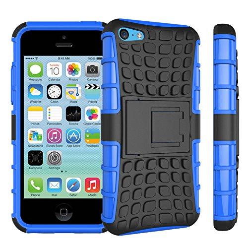 Apple iPhone 5c Coque, SsHhUu Dure Heavy Duty Réduction de Vibration Couverture Double Couche Armure Combo avec Kickstand Protecteur Étui Coque pour iPhone 5c 4.0 Pouce (Bleu) Bleu