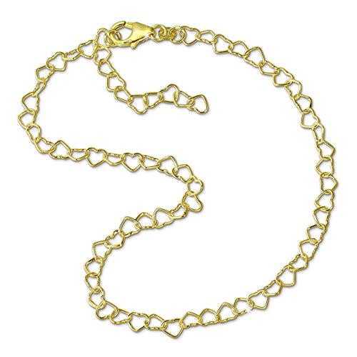SilberDream Fußkette Herzchen 333 Gold 25cm 8 Karat Damen Echtschmuck D2GDF0015Y