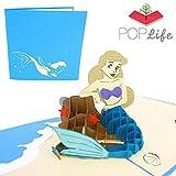 PopLife Cards Bella sirena 3d biglietto di auguri pop-up per tutte le occasioni carta festa della mamma, regalo sirena, festa sirena, pieghe coda sirena piatta, perfetto per la spedizione di complean