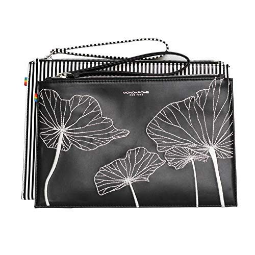 Monokrome New York Floral Embroidered Flat Geometric Designer Pouch Purse Wristlet Clutch for Ladies