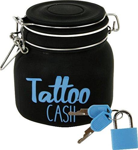 """'Divertida Hucha M. """"Tattoo Cash Candado de cristal en negro"""