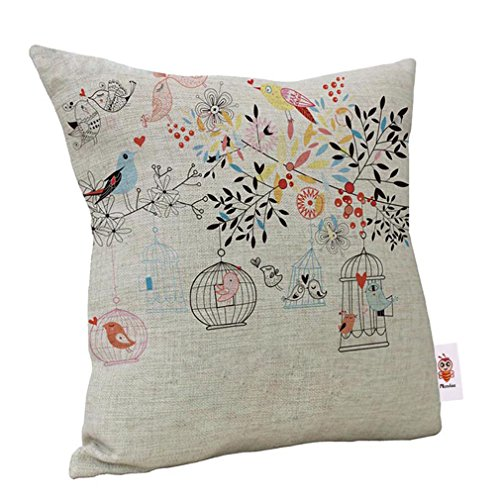 Nunubee Linen Bird Throw Pillow Case Sofa Cushion Cover Home Decor Type A